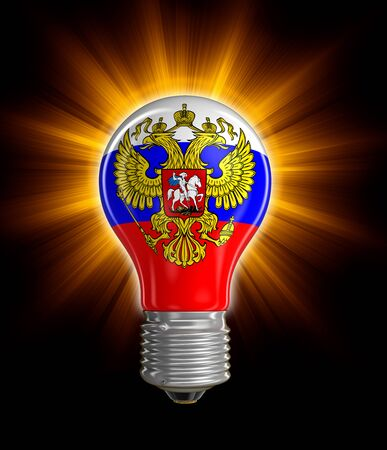 russian flag: Light bulb with Russian flag Stock Photo