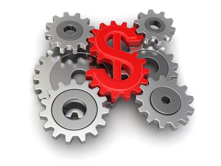 Cogwheel dollar Stok Fotoğraf