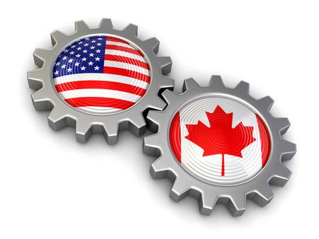 USA en Canadese vlaggen op een tandwielen (het knippen inbegrepen weg) Stockfoto