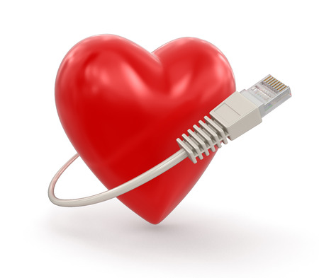 computer cable: Heart and Computer Cable  Stock Photo