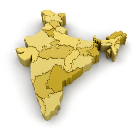 インドの地図。