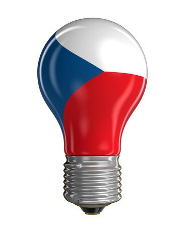 czech culture: Light bulb with Czech flag Stock Photo