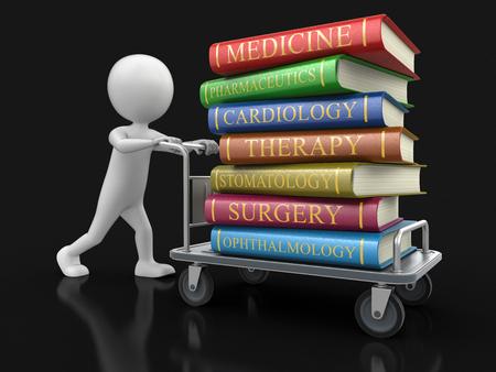 handtruck: Man and Handtruck Medical textbooks