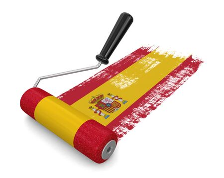 spanish flag: Paint roller with Spanish flag  Stock Photo