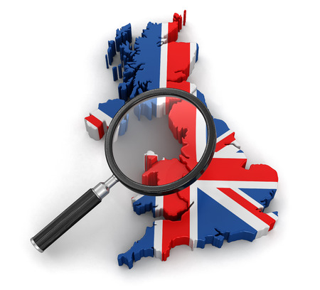 tool transparent white world: Map of United Kingdom with loupe. Stock Photo