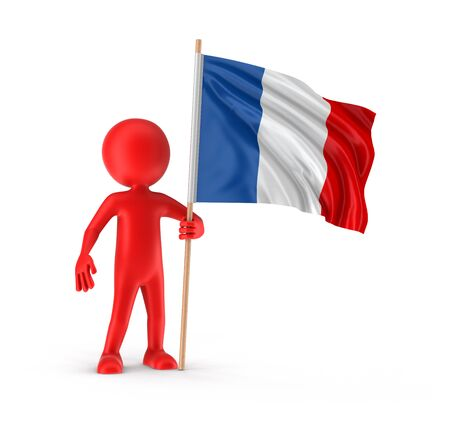 french flag: Man and French flag clipping path included