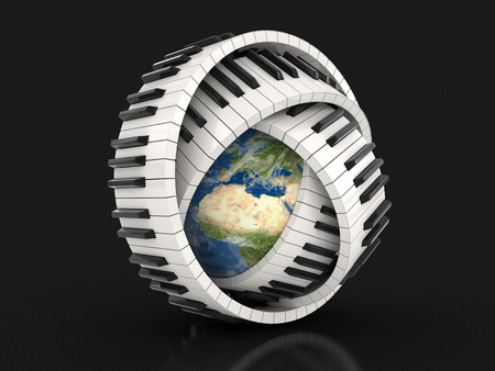 musical instrument parts: Globe and Piano keys clipping path included