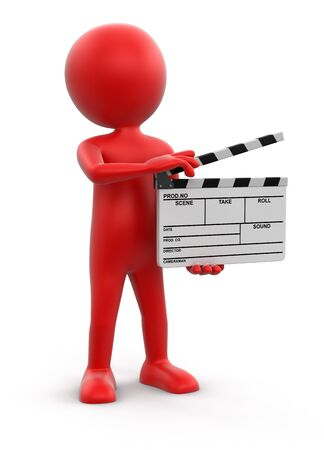 clapboard: Man with Clapboard clipping path included Stock Photo