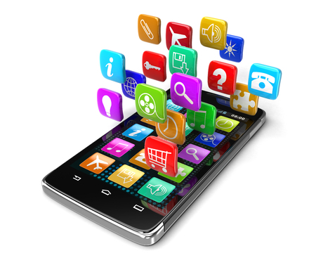 electronic organizer: Touchscreen smartphone with pictograms clipping path included