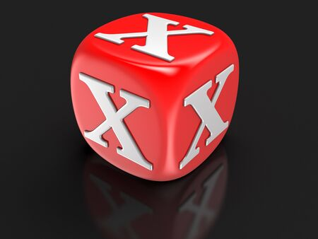 x games: Dice with letter X clipping path included