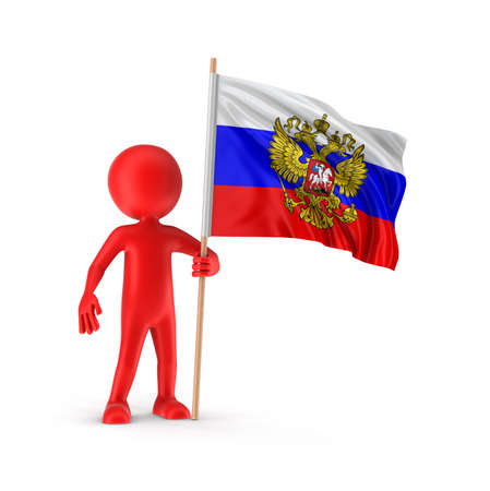 russian flag: Man and Russian flag clipping path included