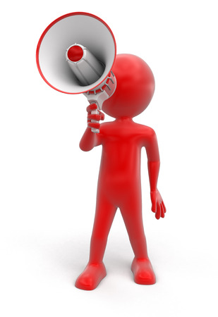 using voice: Man with Megaphone clipping path included