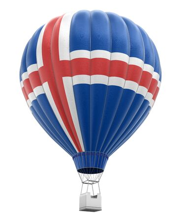 icelandic flag: Hot Air Balloon with Icelandic Flag clipping path included