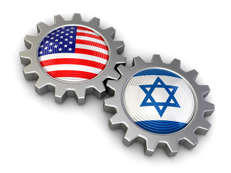 israeli: USA and Israeli flags on a gears clipping path included