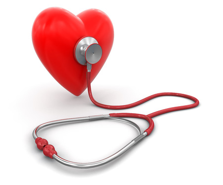heart rate: stethoscope and heart