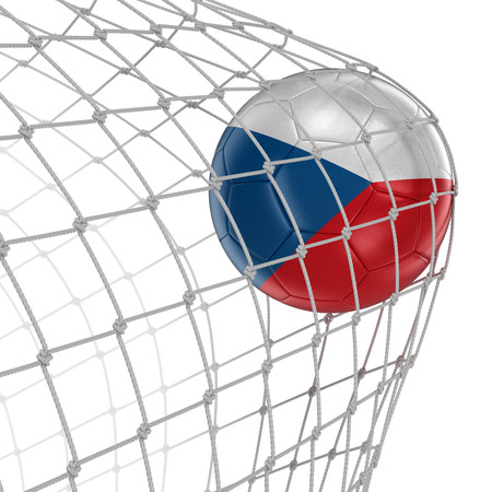 soccerball: Czech soccerball in net Stock Photo