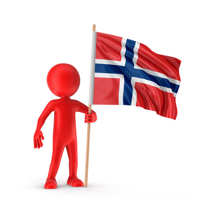 norwegian flag: Man and Norwegian flag