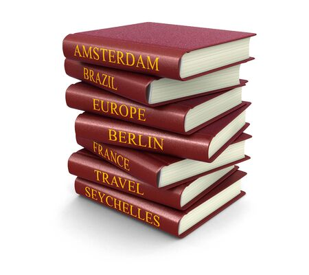 reference book: Stack of Travel books  Stock Photo