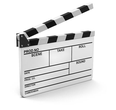 clapboard: Opened Clapboard. Image with clipping path
