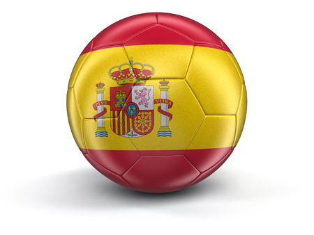 spanish flag: Soccer football with Spanish flag. Image with clipping path