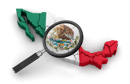 tool transparent white world: Map of Mexico with loupe. Image with clipping path.