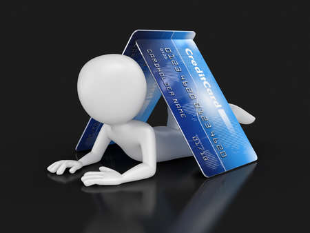one person only: Man with Credit Card clipping path included Stock Photo