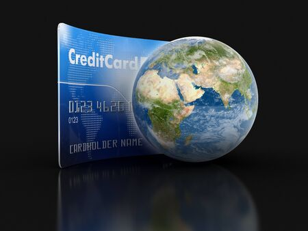 making earth: Credit Card and Globe clipping path included