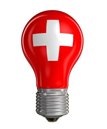 swiss culture: Light bulb with Swiss flag Stock Photo