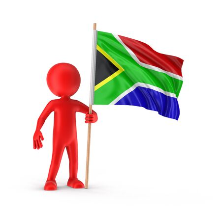 south african flag: Man and South African republic flag clipping path included