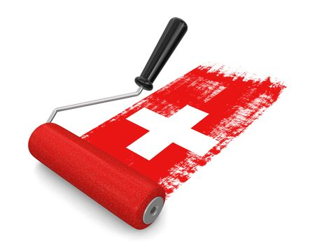 swiss culture: Paint roller with Swiss flag
