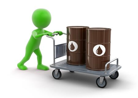 handtruck: Man and Handtruck with Oil Drums