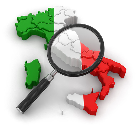 tool transparent white world: Map of Italy with loupe