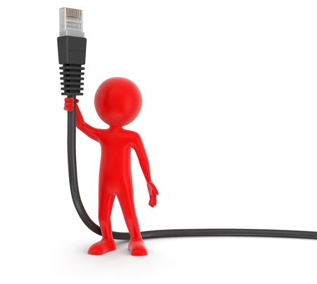 computer cable: Man and Computer Cable