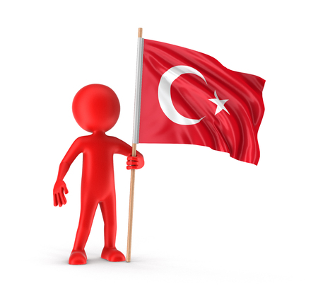 turkish flag: Man and Turkish flag Stock Photo