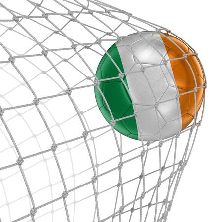 soccerball: Irish soccerball in net.