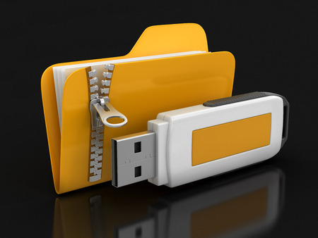 microdrive: Folder with zipper and USB flash