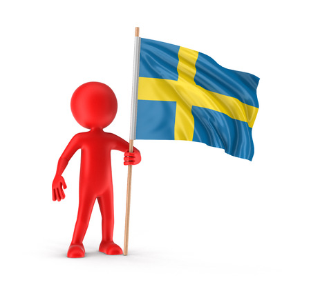 swedish: Man and Swedish flag