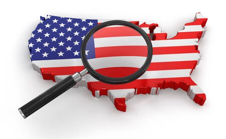 tool transparent white world: Map of USA with loupe clipping path included