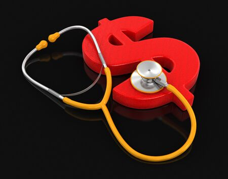 dollar sign: stethoscope and Dollar
