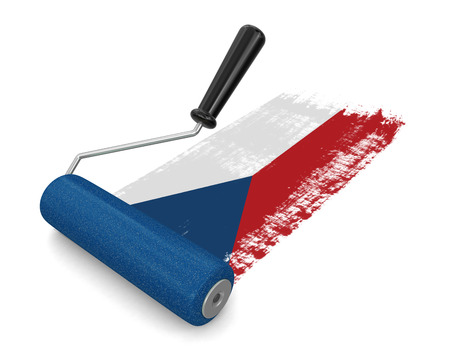 czech culture: Paint roller with Czech flag clipping path included
