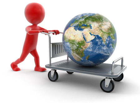 handtruck: Man and Handtruck with Globe clipping path included