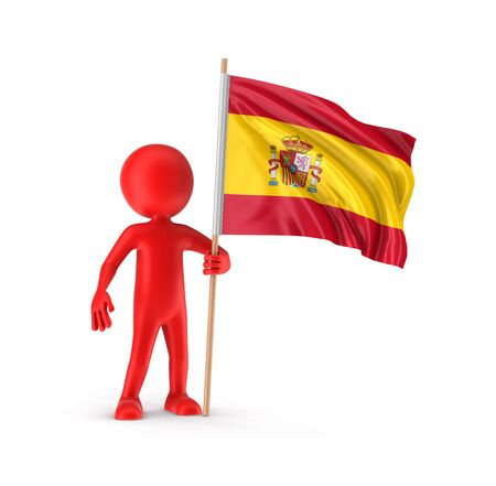 spanish flag: Man and Spanish flag clipping path included Stock Photo