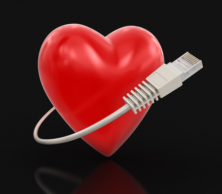 computer cable: Heart and Computer Cable clipping path included