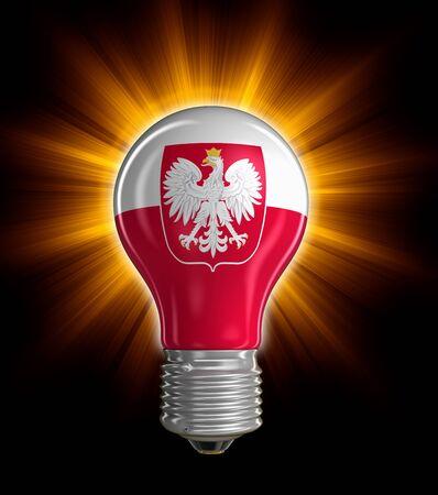 polish flag: Light bulb with Polish flag clipping path included