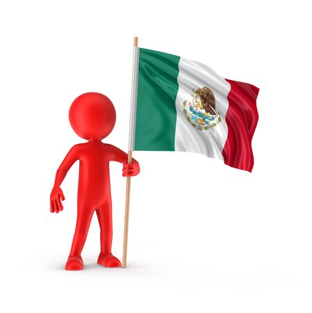 mexican flag: Man and Mexican flag clipping path included Stock Photo