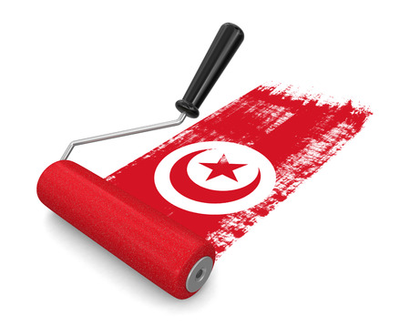 paintroller: Paint roller with Tunisian flag clipping path included