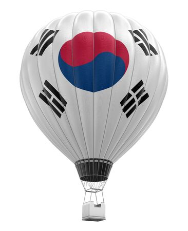 aerospace industry: Hot Air Balloon with South Korean Flag clipping path included Stock Photo