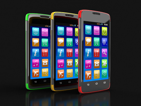 touchscreen: Touchscreen smartphones clipping path included