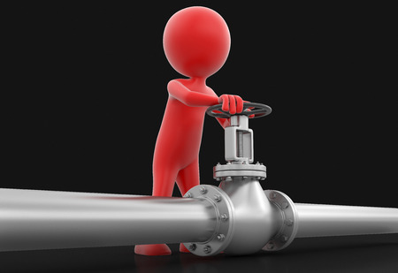stop gate valve: Pipeline and Man  Stock Photo