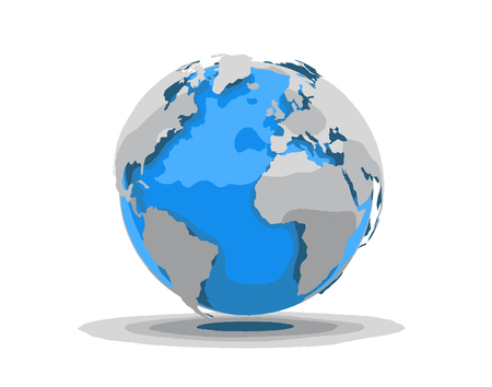 physical geography: 3D World Illustration